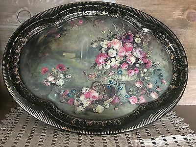 Vintage Tin Serving Tray Flower Bouquet and By Patricia Machin Chatswor