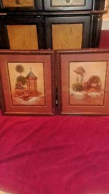 Vintage home interior and gifts,set of two Brown framed pictures