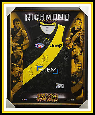 Richmond Tigers 2017 Signed Official AFL Team Jumper Framed Martin Cotchin + COA