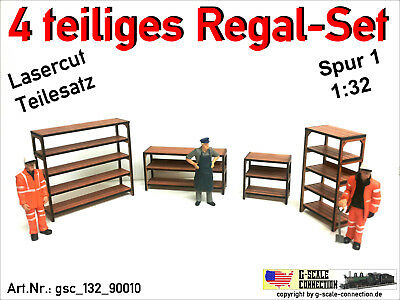 Spur 1 - Regal Set - 4 Werkstatt Regale - Lasercut - 1:32 - gsc_132_90010