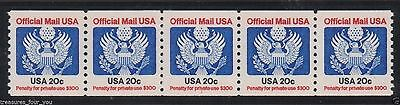 US Official Mail 20¢ USA O-135 PL#1  PNC5  Seal Eagle Coil Stamp Strip MNH