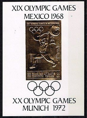 Sharjah.1968 Summer Olympics Game. Gold Block.Imperforated.MNH**