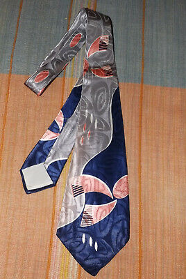 """1940's VINTAGE TIE > """" BEAU BRUMMELL""""  JACQUARD BACKGROUND NEW/OLD STOCK"""