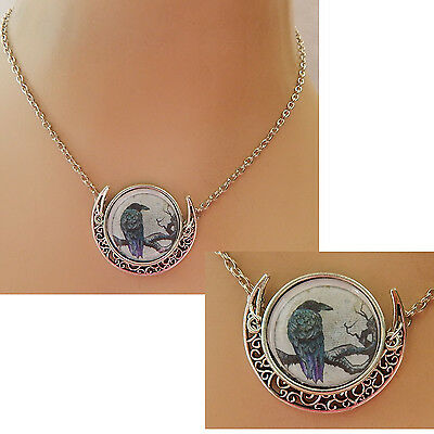 Silver Raven Moon Pendant Necklace Jewelry Handmade NEW Accessories Fashion