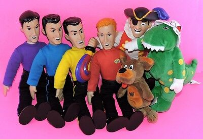 "7 Toy Doll SET Singing TALKING The WIGGLES 15"" SPINMASTER w/Dorothy Wags Captain"