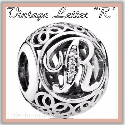 PANDORA ALE S925 Sterling Silver Vintage R Openwork Charm 791862CZ New Authentic