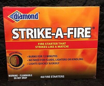 Diamond Strike-A-Fire (48) Fire Starters BBQ Camp Fires Charcoal Grill Hunting
