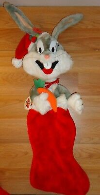 """BUGS BUNNY Looney Tunes Christmas Stocking w/Tag 25""""L Vintage 1992"""