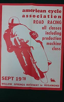 Vintage - 1965 ACA - American Cycle Ass. - Road Racing Poster - Willow Springs