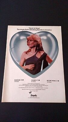 "Blondie ""heart Of Glass""  Rare Original Print Promo Poster Ad"