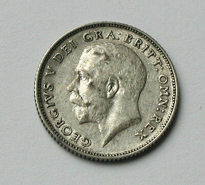 1923 UK (British) George V 0.500 Silver Coin - Six Pence (6d) - trace lustre