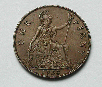 1928 UK (British) George V Coin - One Penny (1d) - pleasing grade/lustrous brown