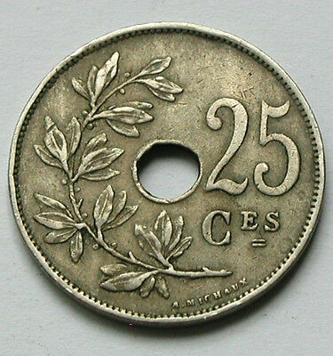 1922 BELGIUM Coin - 25 Centimes - Belgique - holed as issued