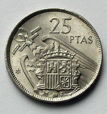 1957 (58 in star) Spain Coin - 25 Pesetas - AU+ lustre - edge lettering