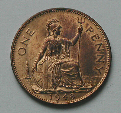 1948 UK (British) George VI Coin - One Penny 1d - UNC red/brown - bright lustre