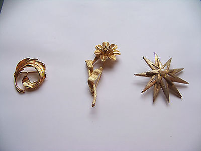 Gold-Tone Brooches/Pins All Signed Lot of Three