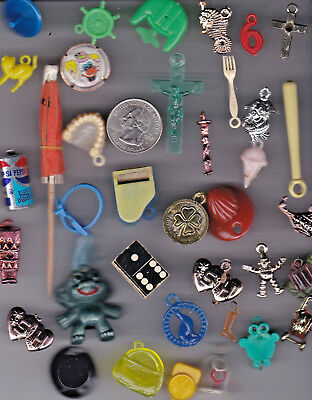 You Get 35 Vintage Gumball Toy Charms. - A 10  - From  U.s. Seller.