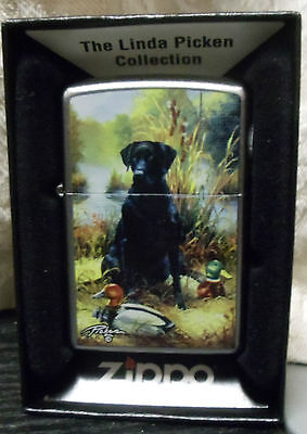 Zippo Chrome Lighter Linda Picken Collection Lab Dog USA Never Opened - Sealed