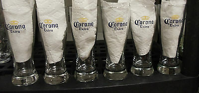 Set of 6 Corona Extra Beer Weizen Style Glasses with Crown Logo Blue & Gold 7""