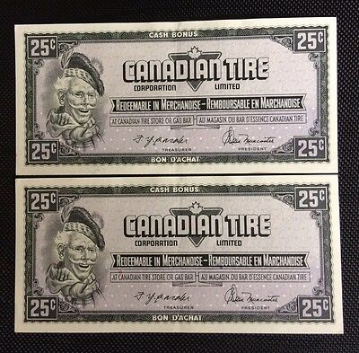 Canadian Tire Money 2 Sequential Notes 25cents CTC-S4