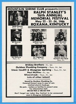 1986 Ralph Stanley Bluegrass Mtn Shrine Roxana KY Bill Monroe Goins Sullivan Ad