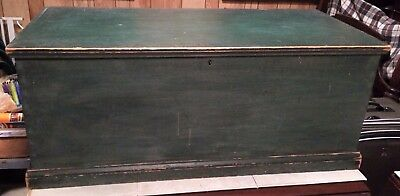 Antique 19th C. Dovetailed Blanket Hope Chest Original Green Paint