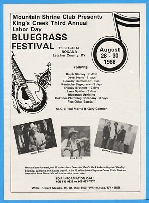 1986 Mtn Shrine Kings Creek Bluegrass Roxana KY Ralph Stanley Country Gents Ad