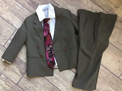 Boys Vintage Suit By Big Guy Size 4T Jacket Blazer Pants Tie Shirt