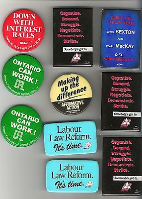 Lot of 10 trade union buttons - Ontario Federation of Labour OFL O.F.L.