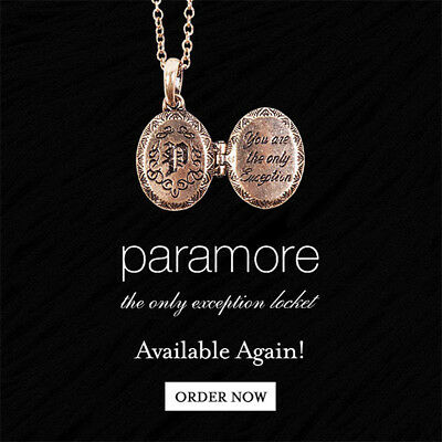 Paramore THE ONLY EXCEPTION Locket / Necklace - 2016 Webstore Restock - NEW!