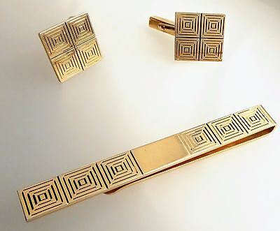 Swank Etched  Cuff Links and Tie Clip Geometric Squares Gold Tone VTG