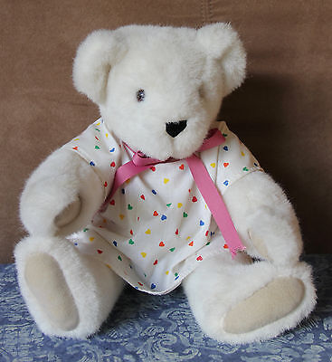"""Vermont Teddy Bear White Jointed Plush Brown Eyes Hospital Gown Outfit VG 16"""""""
