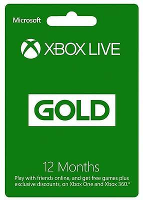 E-code 12 Month Microsoft Xbox Live Gold Membership Subscription
