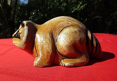 Mexico Folk Ceramic Raccoon, Signed