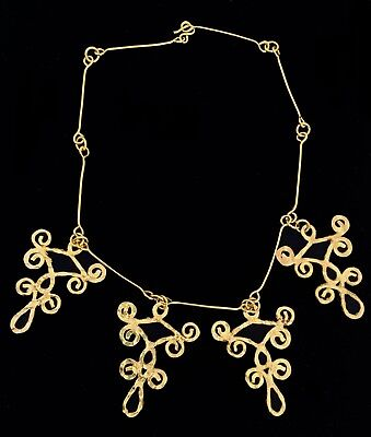 Greek Museum Gold Hammered Artist Made Multi Pendant Necklace-