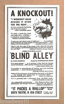 """Roy Hargrave """"BLIND ALLEY"""" George Coulouris / Ruth Fallows / Jay Adler '35 Flyer"""
