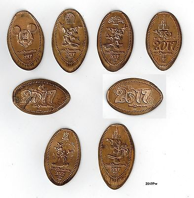 2017Pw - 2017 Disney World elongated pennies - all 8 pressed on wheat cents