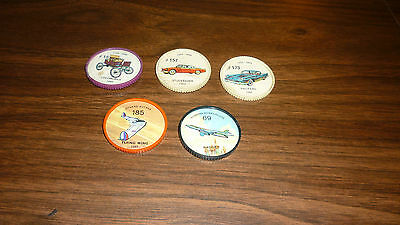 Lot Of 5 Vintage Plastic Jello Hostess Car & Plane Coins Flying Wing