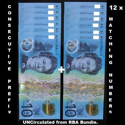 12 X 2017 $10 Banknotes with  MATCHING Serials + Consecutive prefix new ten doll