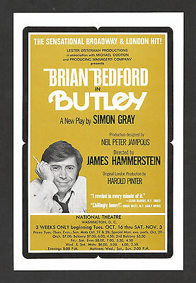"Brian Bedford ""BUTLEY"" Barbara Lester / Simon Gray 1973 Washington, D.C. Flyer"