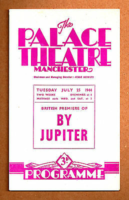 """Rodgers & Hart """"BY JUPITER"""" Bobby Howes / British Premiere 1944 Playbill"""