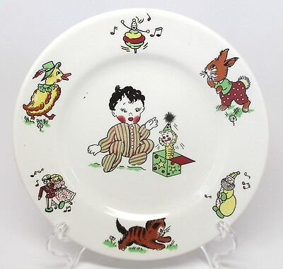 Mayer China - Toyland - Child's Plate - #458 - Dolls Jack-in-the-Box Duck & Top