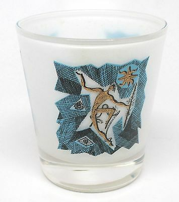 Vintage Frosted, Blue and Gold Tribal Warrior Juice / Rocks Glass