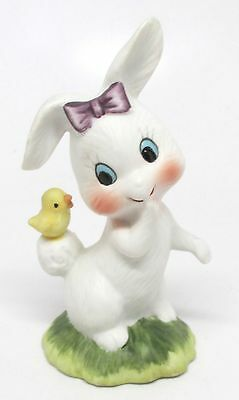 Girl Easter Bunny Rabbit with Baby Chick on Tail Figurine