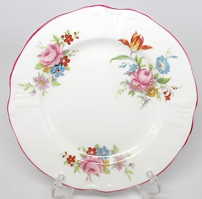 Hammersley - Floral Sprays Pink Trim - Dessert / Pie Plate - Made in England