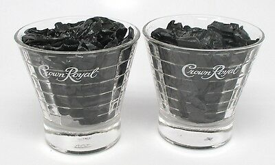 Set of 2 Crown Royal Block Optic Etched Whiskey Glasses - 6 Ounces