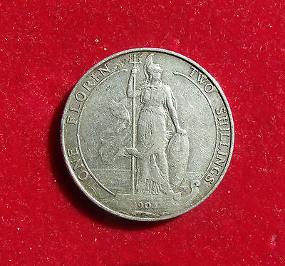 1903 Two Shillings Edward VII Florin Britiish Coin Scarce date nice condition VF