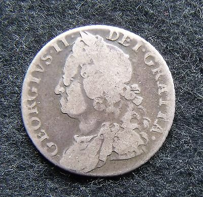 1758 George II .925 silver shilling British Coins fair condition