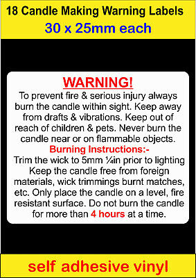18 small Candle Making Safety Warning Labels self adhesive vinyl Stickers decal