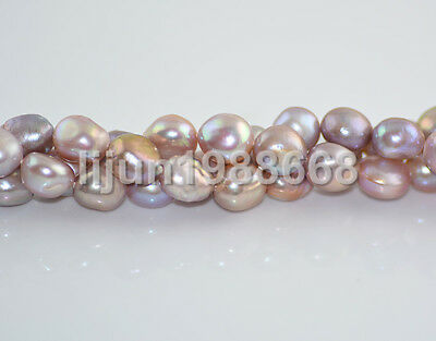 "New 12-13mm barpque purple freshwater cultured pearl loose bead 15""AAA"